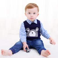 Wholesale Tee Tank Children - 2017 Fall Tees Pretty Baby Boy Girl Fashion Bear Sleeveless Clothes Children Tank Top Cotton Vest Shirt Kids Clothing