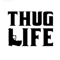 Wholesale plastic film material - 15.2CM*12CM Thug Life Sticker Tupac gangster Funny Hater JDM Gun Decal Accessories