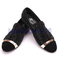 Wholesale Wedding Heel Gold Strap Diamonds - Handmade Black Diamonds Men's Suede Loafer accessorized Gold Strap with Satin and Leather Insole for Banquet and Prom