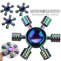 Wholesale Long Arm Toy - 6 Arms Rainbow Color Fidget Hand Spinner Tri-Spinner High quality Metal Zinc Alloy Toy Long Spin Time Spinner EDC ADHD Autism Stress Relief
