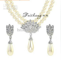 Barato Conjunto De Dupla Vertente-Banhado a Prata Cristal claro Rhinestone Double Strand Marfim Pérola Drop Bridal Necklace and Earrings Jewelry Set