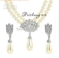 marfim jóias china venda por atacado-Prata banhado cristal strass duplo fio de pérola colar e brincos de jóias