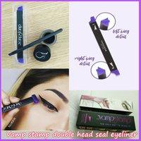 Wholesale Wholesale Black Cream Eyeliner - 2017 New Hot Kylie The Vamp stamp seals Eyeliner Silicone Swing Stamp eyeliner tools 3pcs set Vavavoom Medium Large Black Color
