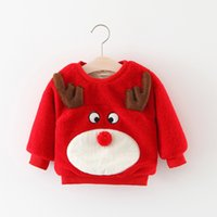 Wholesale Baby Girls Winter Jumpers - Christmas Toddler kids sweater Baby girls plush Cartoon mooses Pullover Winter Infants long sleeve thickening jumpers Baby Clothes C1612