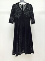 Wholesale Inside Ball Gown - Fashion 2017 Plus size dresses material of Lace All Black elegant Two-piece Jumper skirt Inside comfortable maxi dress