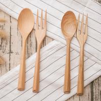Wholesale Japanese Dessert Fork - Natural Wood Spoon & Fork Set Japanese Style Dessert Fork Soup Rice Spoon Wooden Cutlery Set Fork Spoon Set Wood Utensils