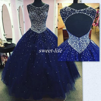 Wholesale Blue Beaded Quinceanera Dress Ruffled - Real Images Dark Blue Long Quinceanera Dress 2017 Plus Size Backless Crysatl Beaded Ball Gown Tulle Debutante Party Gowns vestido 15 anos