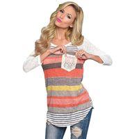 Wholesale Ladies Bell Bottoms - Wholesale- 2016 Fashion Autumn Winter Stripe Casual Irregular Pocket Long Sleeve T Shirt Ladies Loose Bottom T-shirt Tops