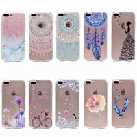 Wholesale Iphone Cases For Bikes - Transparent TPU Cover For iPhone 7 Plus Case Fashion Tower bike Butterfly Girl Feather Design Mobile Phone Cases
