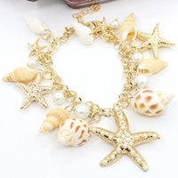 Wholesale wholesale seashells - 2017 Bohemian starfish seashell charm bracelet vintage handmade ocean sea star shell conch pearl cuff bracelets bangle for women jewelry