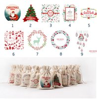 Wholesale DHL Styles Christmas Large Canvas Monogrammable Santa Claus Drawstring Bag With Reindeers Monogramable Christmas Gifts Sack Bags
