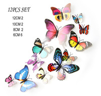 Wholesale Magnetic Butterflies - 12PCS 3D Butterfly Sticker Set Art Wall Creative decoration stickers PVC removable wall Fridage Magnets decor 15 Styles Option