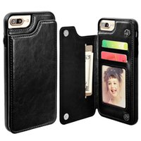 Barato Slim Caso À Prova De Choque Para Iphone-Para iphone X 8 7 Carteira de couro Case Card Money Slots Slim Multi-funcional Folio ID Window Capa TPU resistente a choque para i6 6S plus