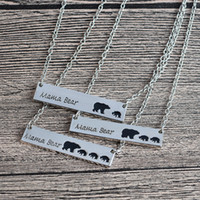 Wholesale Moms Christmas Gifts - Silver Gold Plated Bar Necklace Polar Mama Bear Necklace Gifts for Mom Wife Mother's Day Gift Birthday Remembrance free shipping