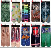 Wholesale Sports Cotton Socks Brands - 340 Styles Sports Socks Big Kids Men's 3D Printed Stocking New Pattern Hip Hop Cotton Sock Unisex SOX Emoji Animal Cartoon Skull Free Ship