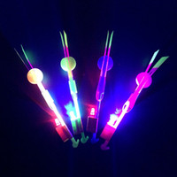 Wholesale Helicopter Novelty - Novelty Children Toys Amazing LED Flying Arrow Helicopter for Sports Funny Slingshot birthday party supplies Kids' Gift wa3206