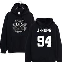 Wholesale Kpop Sale - Wholesale- BTS fashion harajuku hoodies casual black couple clothes 2017 kpop fleece hooded sweatshirt letter print pullover plus size sale