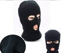 Wholesale Balaclava Hole Black - Black Balaclava SAS Style 3 Hole Mask Neck Warmer Paintball Fishing Ski Hat Paintball Multipurpose Face Mask