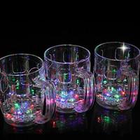 Wholesale Led Light Beer Mugs - Transparent Flash Cups LED Light Up Water Sensor Beer Mug Plastic With Handle Cup For Pub Ktv 6 9jc B R