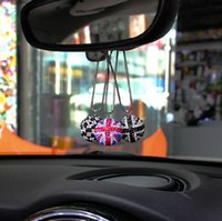 Wholesale Mirror Ornament - Car Rearview Mirror Pendant Crystal Ball Jack Union Checker Rear View Hanging Ornament for BMW Mini Cooper R52 R56 R55 F60 F61