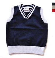 Wholesale Wool Blend V Neck Children - kids sweaters cotton autumn winter knitted waistcoat trendy solid baby boys girls sweater vest V-neck children waistcoats