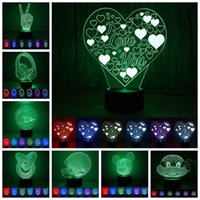 Wholesale Boat Figures - 2017 3D Heart Mickey Boat Optical Illusion Lamp Night Light DC 5V USB Charging for Christmas Birthday Party