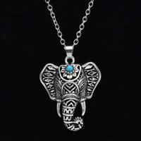 Wholesale Turquoise Elephant Necklaces - Bohemian Ethnic Turquoise Elephant Pendant Necklace Vintage women statement jewelry Necklace for Women Free shipping