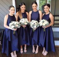 mavi yüksek alçak etek toptan satış-2017 Basit Yüksek Düşük Gelinlik Modelleri Lacivert Jewel Boyun Saten Kolsuz Katmanlı Etekler Artı Boyutu Düğün Konuk Törenlerinde Custom Made