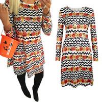 Wholesale bohemian costume for women resale online - Girls Women Pumpkin Dress Halloween Theme Printed for Halloween Party Cosplay Costume Dress Clothing New