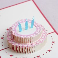 Wholesale pop up cards cake for sale - Group buy greeting cards birthday party favors birthday party decorations kids D birthday cake pop up cards greeting card