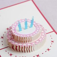 pop up tarjetas de pastel al por mayor-Tarjetas de felicitación Fiesta de cumpleaños para fiestas de cumpleaños decoraciones para niños Pastel de cumpleaños 3D tarjetas de felicitación emergentes