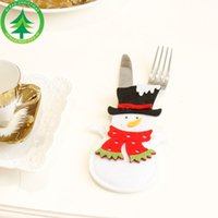 Indoor Christmas Decoration Cloth None Christmas decoration restaurant hotel layout new non-woven old man snowman knife and fork bag creative tableware set