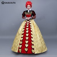 Wholesale Alice Queen Costume - Brand New Alice in Wonderland The Red Queen Cosplay Dress Halloween Witch Costumes For Women