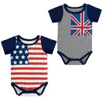 dreieck amerikanische flagge großhandel-Babyspielanzug Amerikanische Flagge Sommer Baumwolle Dreieck Baby Overalls Einteiliges Kleidungsstück Sterne Streifen Kurzarm Ärmelloser Pullover