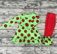 Wholesale Girl Spot Dress - newest hot sale dress in green with red spots outfits match green with red spots ruffle red pants girl baby clothes sets