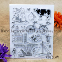 Wholesale Farming Photos - Wholesale- Scrapbook DIY photo cards account rubber stamp clear stamp transparent chapter farm Cattle house bicycle ship 15x19cm KW641930