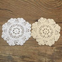 Wholesale Vintage Crochet Table Mats - Wholesale- Cotton Vintage Round Hand Crocheted Lace Doilies Placemat Yarn Table Mat Coasters Home Dining Table Decorative Textiles 17CM