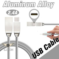 Wholesale Spring Line Cable - 2.4A Fast Charging Cable 1M 3FT Metal Spring Steel Micro USB Sync Data Wire Lighting Scaling Aluminum Alloy Line Cord For Samsung S8 HTC