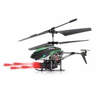 Wholesale Gyro Infrared Control Rc Helicopter - WL V398 Missile Launching Built-in Gyro Infrared RC Helicopter 3.5 Channel Remote Control Helicogyro With Gyro Green Red