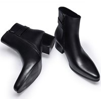 Wholesale Mens High Buckle Boots - new mens pointed toe genuine leather boots high heels fashion buckle designer black ankle boots shoes men botas