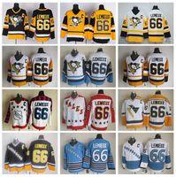 lemieux ccm jersey großhandel-66 Mario Lemieux Jersey Männer Pittsburgh Penguins Eishockey Mario Lemieux Vintage Trikots CCM Alle Genäht Schwarz Weiß Gelb Blau