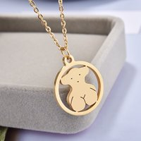Wholesale unique gold pendants - Excellent quality Panda style Titanium Steel Round Pendant Rose gold plated osos collar necklace New Unique design jewelry bears for women