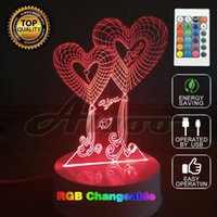 Wholesale Unique Gifts Love - 3D Visual Bulb Optical Illusion Colorful LED Table Lamp Touch Romantic Holiday Night Light Love Heart Wedding Gifts Decor Unique
