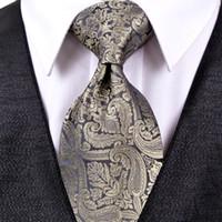 Wholesale Neckties Pocket Squares - J20 Paisley Multicolor Champagne Khaki Black Dark Gray Mens Ties Neckties Pocket Square 100% Silk Tie Set Free Shipping Wholesale