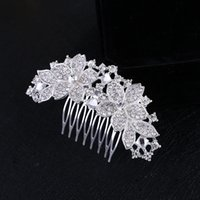 New Arrival Bridal Wedding Hair Comb Silver Crystal Diamante Rhinestone Flower Hair Accessories Headpiece Bride Hair Jewelry Tiara para mulheres