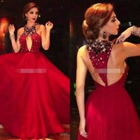 Wholesale Sequin Dress Cutout - 2017 Prom Dresses Myriam Fares Red Celebrity Dresses Major Beaded Halter Neckline with Sexy Keyhole Cutout Back Tulle Evening Dresses