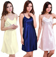 Wholesale Wholesale For Bridesmaid Dresses - Sexy Silk Bathrobe Rayon Spaghetti Strap Robe V-neck Soft Dress Nightgown Lingerie Sleepwear Bride Bridesmaid Robe for Women LC485