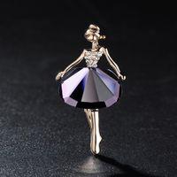 güzel bale toptan satış-Toptan-Güzel Prenses Balerin Broş Zarif Broş Bling Gem Broş Düğün Gelin Rhinestone Elbiseler Bale Kız Takı