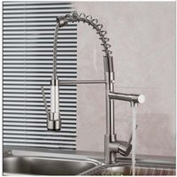 Wholesale Nickle Kitchen Faucet - Wholesale- Luxury Brushed Nickel Spring Kitchen Mixer Faucet Single Handle One Hole Double Sprayer