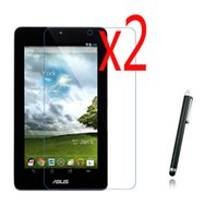 "Wholesale Lcd For Asus Memo Pad - Wholesale- 3in1 2x LCD Clear Screen Protector Films Protective Film Guards +1x Stylus For ASUS Memo Pad 7 ME172V ME172 7"" Tablet"